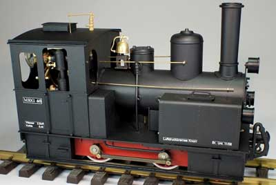 Regner's latest is an 0-4-0 based on a German locomotive that ran in the Rhine Valley.