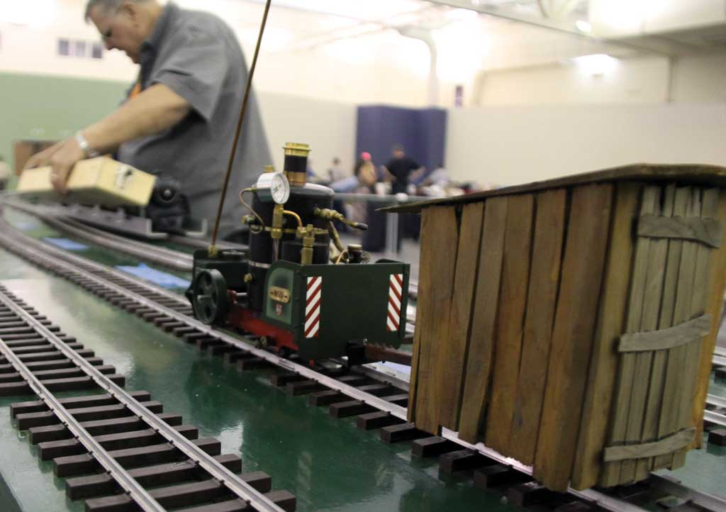 A Regner 'Willi' pulls an unusual scratch-built car on the new Llagas Creek/Triple R Services layout.